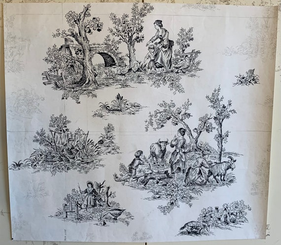 Original French Painting 20th Century For Textile Development Of Scenic Toile (3310)