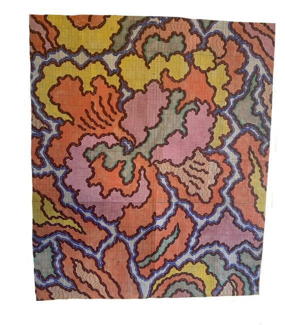 Charming French painting (1966) for carpet development 3237