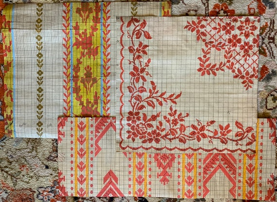 3 Charming French Paintings(Early 20th Century) For Woven Textile Development(3305)