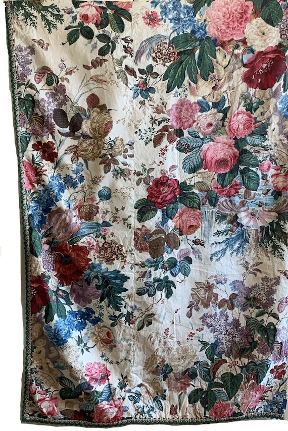 Incredibly Rare Beautiful 19th Cent French Floral cotton chintz fabric 5019