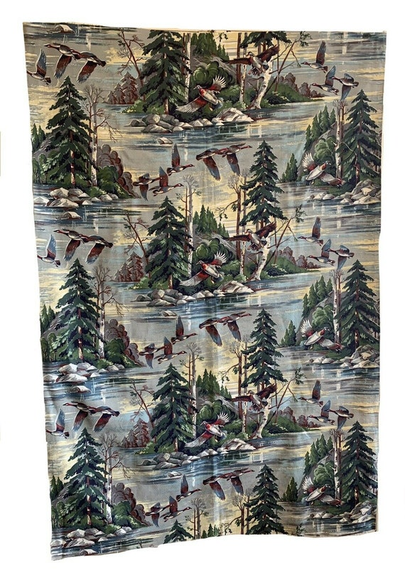 Beautiful 20th Cent American cotton conversational geese print 5404