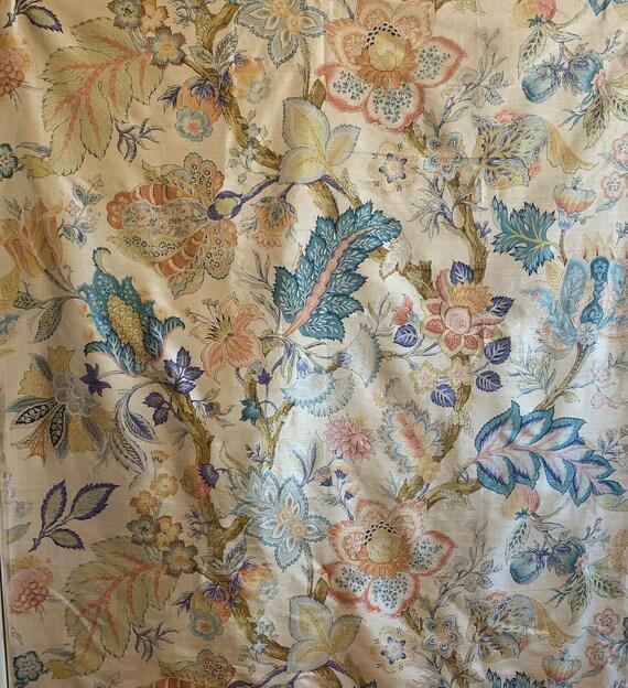 Beautiful rare early 20th Century French silk printed jacobean fabric 5144