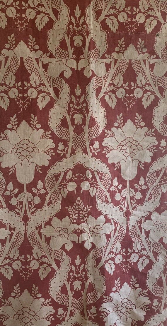 Beautiful Early 20th Cent. French printed linen floral fabric 5136
