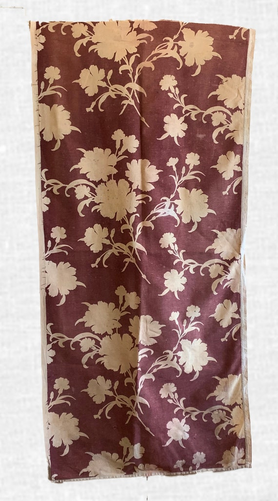 Beautiful 1930s French Cotton /Linen Monotone Floral Fabric (2223)