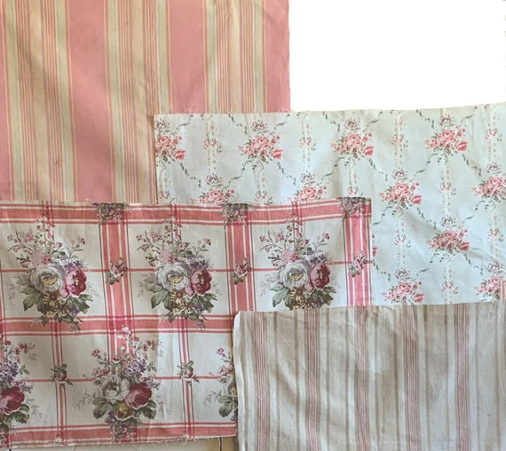 Beautiful Early 20th C. French Collection of 2 stripes 2 floral fabrics 5081