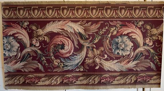 Beautiful Rare 19th Century French Elaborate Scroll Wallpaper Border (2809)