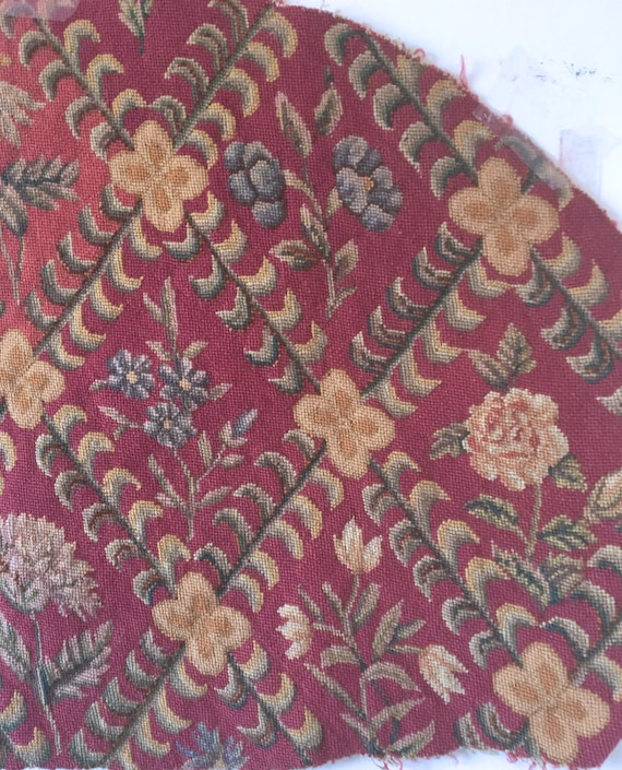 Beautiful 19th C. Hand Embroidered French Wool Needle point Fabric (2387)