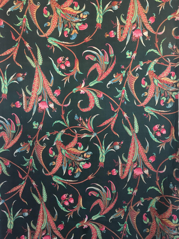 Exotique feuille Français Français Français du XIXe siècle et tissu imprimé Floral (2273) 568cbe