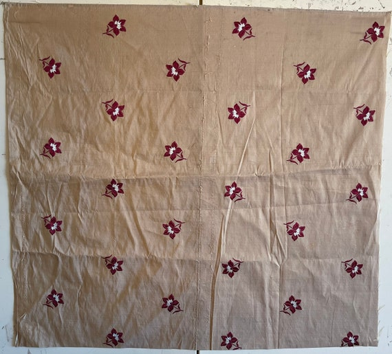 Beautiful Early 20th Century French Embroidered Taffeta Fabric (2220)