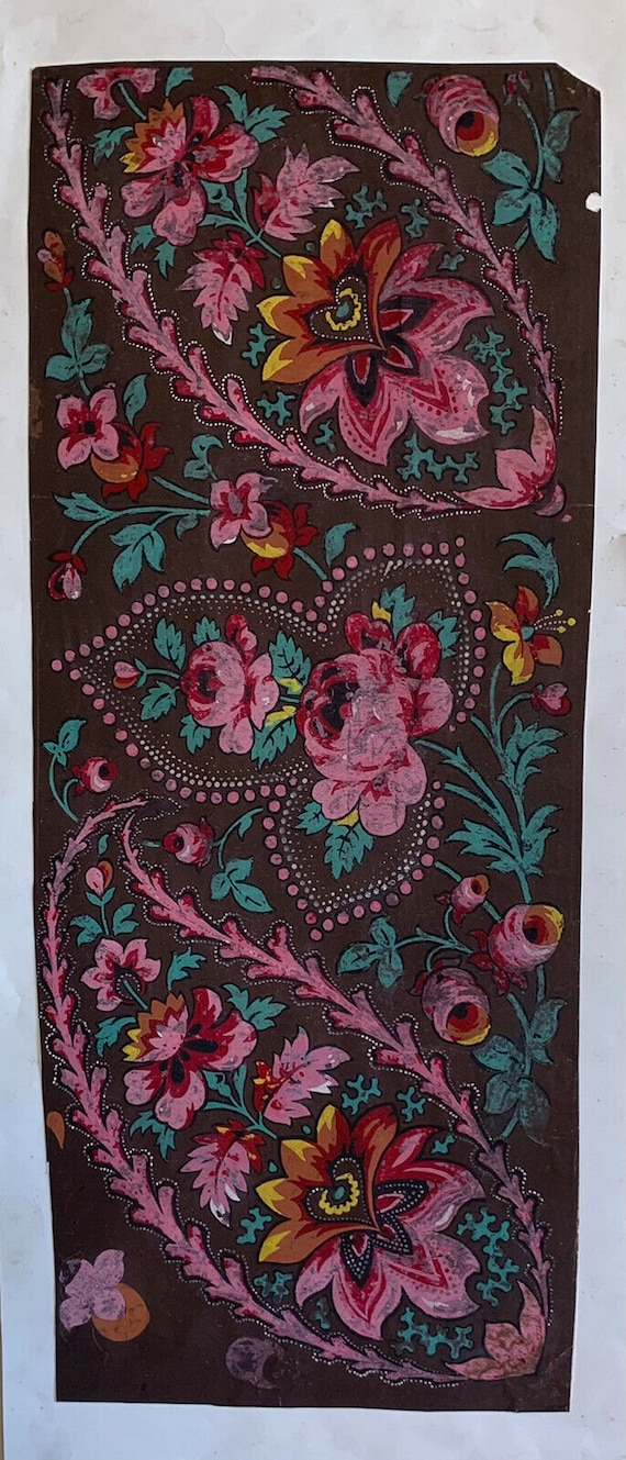 Charming Antique Early 19th Cent. Provencal Paisley Textile Painting 7923