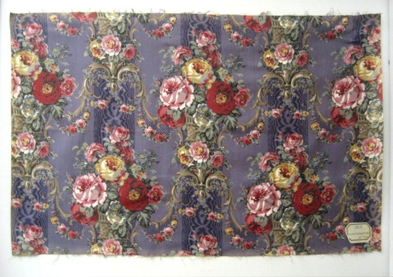 Vintage  Early 20th C. French Floral Cotton Print Fabric (8750)