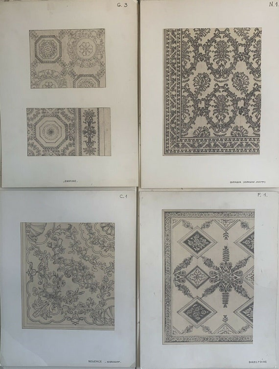 Beautiful Rare 19th 20th C. French Design Drawings for Carpet Development 5023