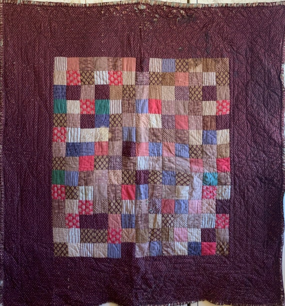 Beautiful Rare 19th Century French Cotton Patchwork Provencal Quilt (3240)
