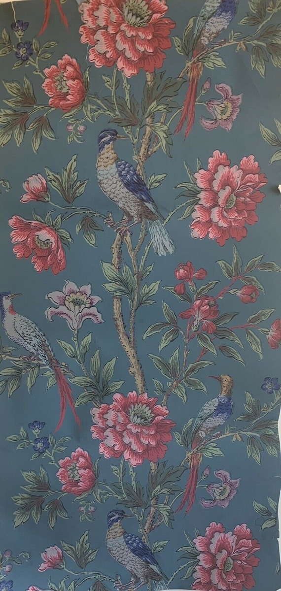 Beautiful early 20th Cent French Zuber floral/bird wallpaper 5208