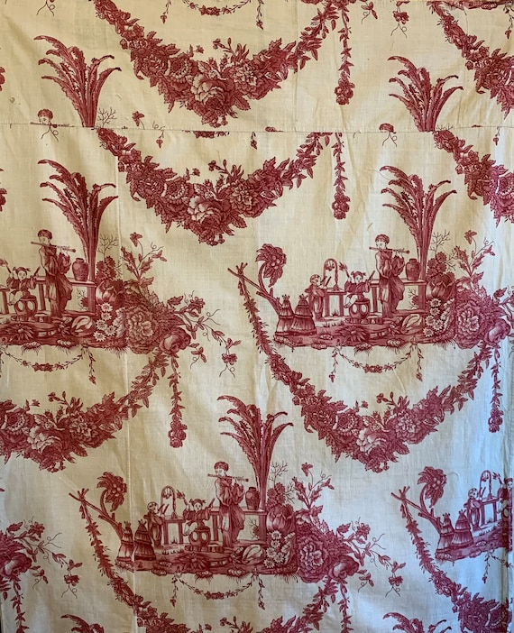 Beautiful Rare Late 18th Early 19th Century French Cotton Chinoiserie Toile (2913)
