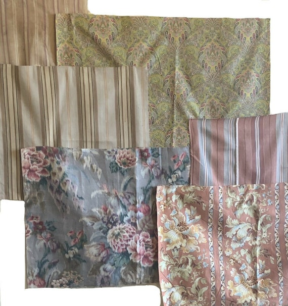 Beautiful 6 late 19th C. early 20th C. French ticking stripes and prints 5051