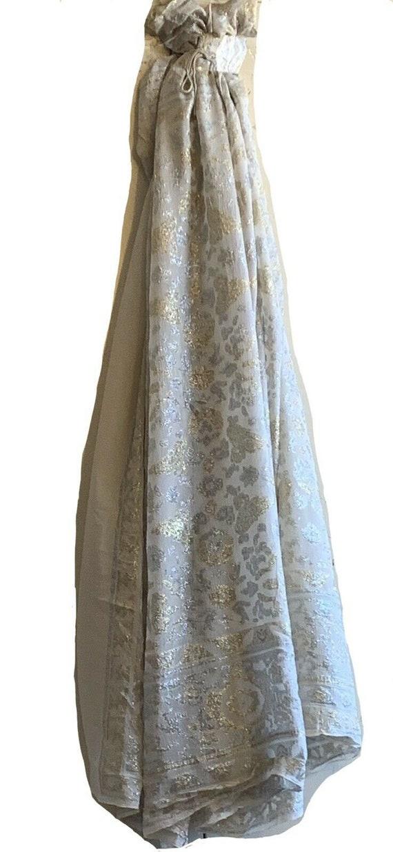 Beautiful 1940's French Silk Woven Metallic Jacquard fabric 504