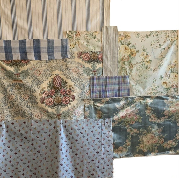 Beautiful Group of 20th C. French printed floral stripes plaids fabrics 5117