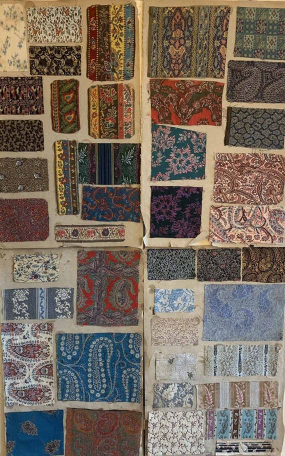 Beautiful Rare Collection 19th C. French Silk/Wool Jacquards 7p 72 des. 5139