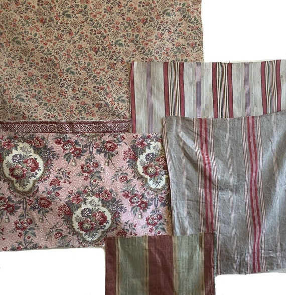 Beautiful Group Of 6 20th C. French Printed And Ticking Stripe Fabrics 5118