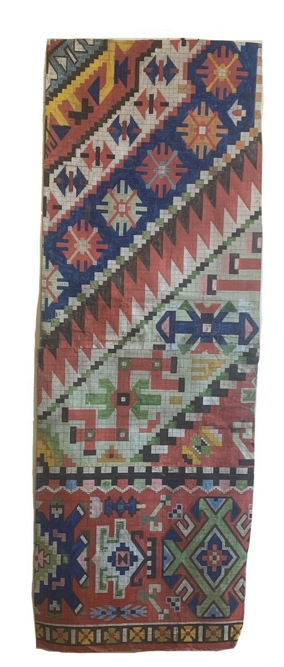 Beautiful Rare 19th Cent. French painting for carpet development 5416