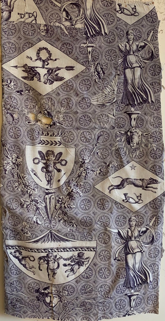 Beautiful Rare 19th Century French Neo Classical Toile Fabric (2612)