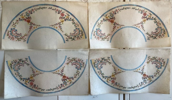 Beautiful Rare 4 19th Century French Paper Lampshades (2815)