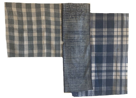 Wonderful 3 late 19th Cent French plaid, check and Thai block prints 3235