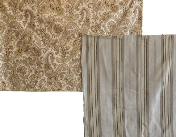 Wonderful collection of 19th C. French ticking stripe with printed paisley 5111