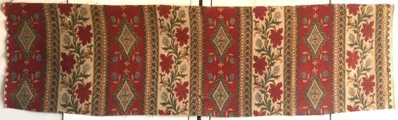 Beautiful Late 19th C. French Tussah Silk Printed Stripe Paisley Fabric (2403)