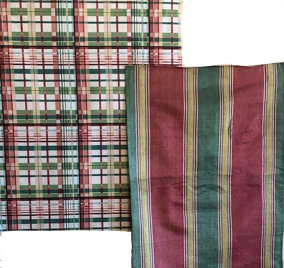 Beautiful 19th C. French silk striped woven fabric 20th C. plaid fabric 5097