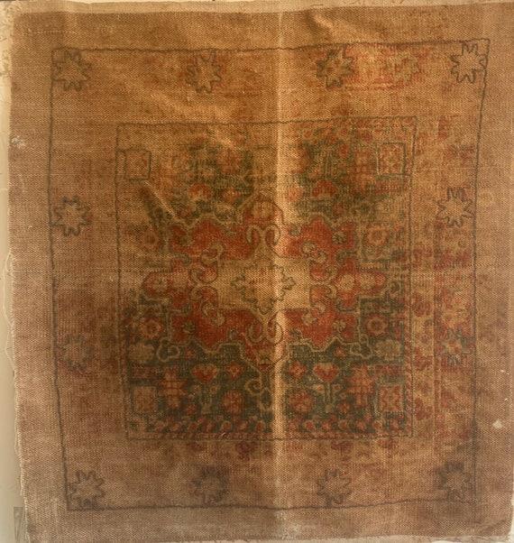 Beautiful 19th Cent. Turkish woven wool carpet fabric 5301