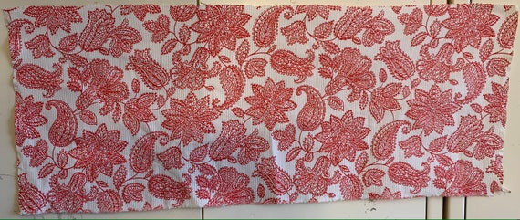 Lovely 20th Century French Cotton Monotone Floral Fabric (2202)