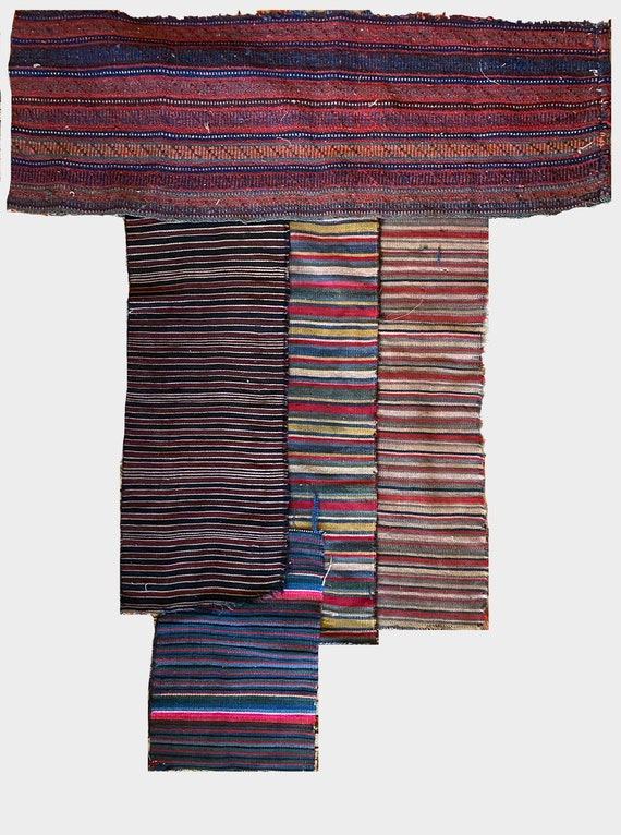 Beautiful Collection of 5 19th Century Wool Turkish & Napolis Stripes (3222)
