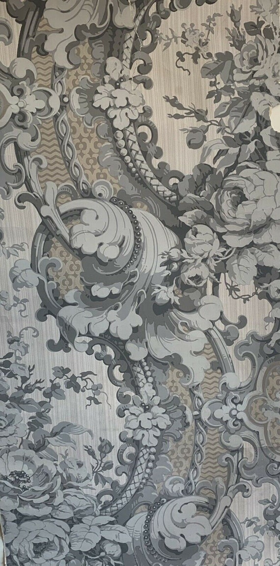 """Beautiful rare 19th Century French """"zuber"""" classical damask wallpaper 5127"""