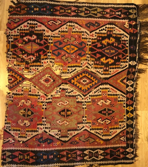 Beautiful 19th cent. Hand Woven Kilim Rug Piece (3038)