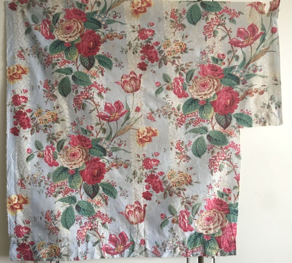 Beautiful Antique Late 19th C. French Printed Floral Fabric (2370)