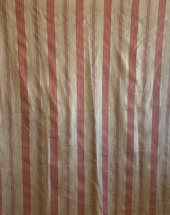 Beautiful 20th Cent. French linen woven ticking stripe fabric 5248