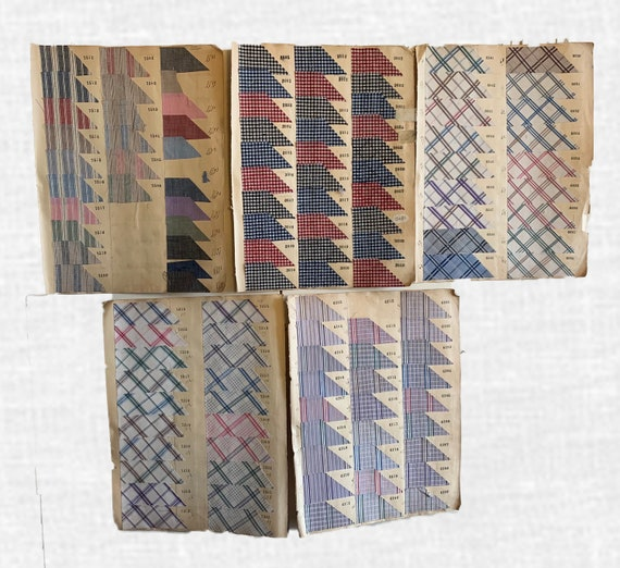 Beautiful French Early 20th Century Collection Of Cotton Woven Shirting Stripes & Checks 2231