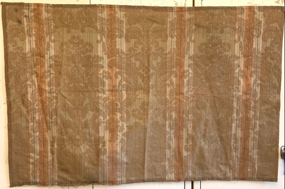 Beautiful Early 20th Century French Silk Amberline Woven Striped Fabric (2220)