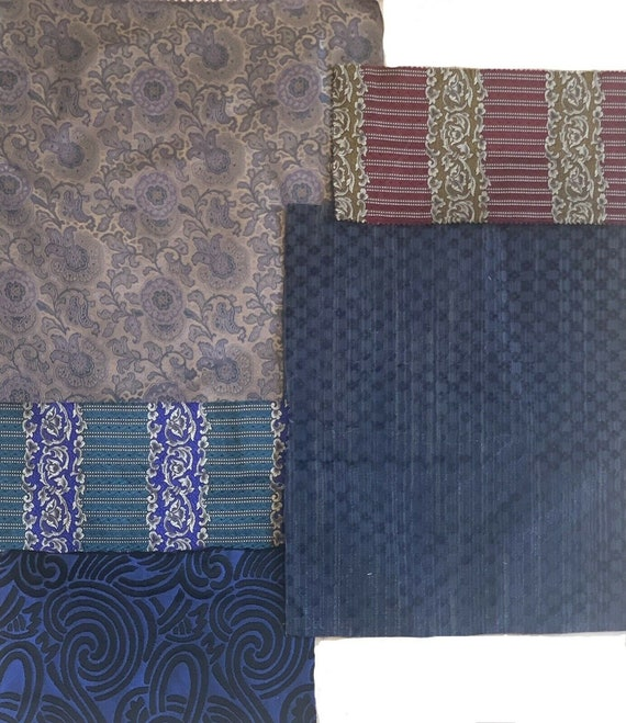 Beautiful collection of 5 20th C. French silk velvet jacquard woven fabrics 5143