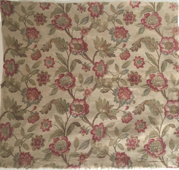 Beautiful 1930's French Printed Linen Floral Fabric (2236)