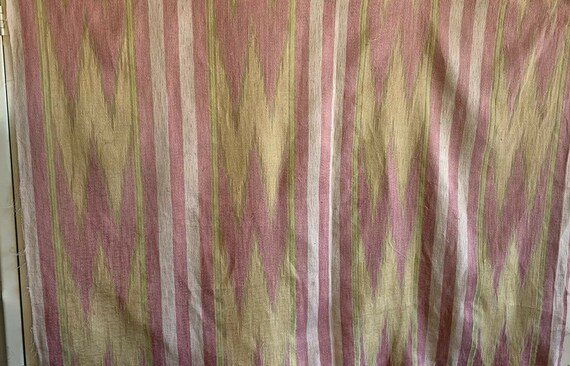 Beautiful Early 20th Century French Striped Silk Woven Ikat Fabric 4012