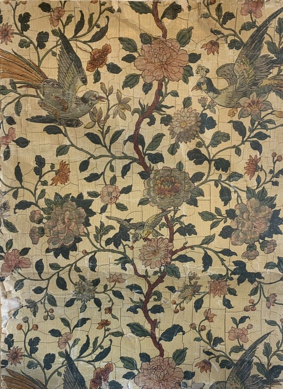 Beautiful rare 19th Century French floral bird wallpaper 5107