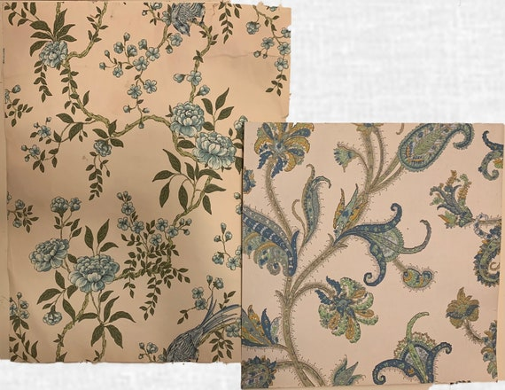 Beautiful 20th Century French Paisley And Floral Wallpaper(2 pieces) (3371)