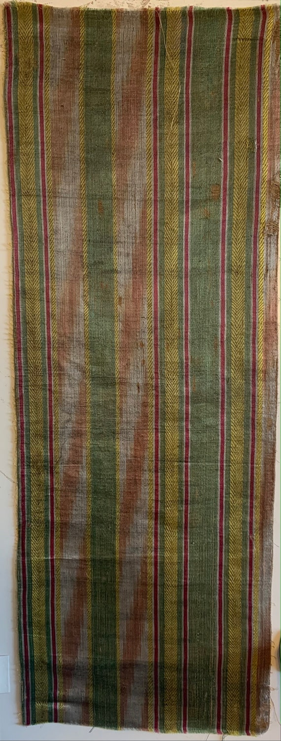 Beautiful Late 18th or 19th Century French Silk/Linen Ikat Stripe Woven (3319)