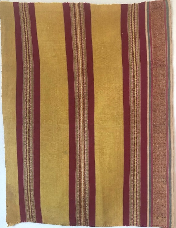 Antique Beautiful 18th Cent. French Silk Woven Stripe Fabric (3002)