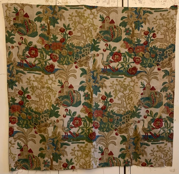 Beautiful 1930's French Linen Printed Conversational Fabric (3348)
