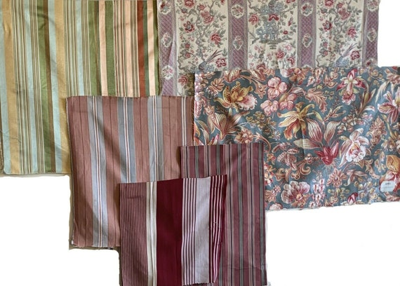 Wonderful Collection of 6 20th Century French Japanese fabrics and stripes 5020