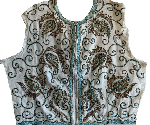 Beautiful 1950's hand beaded and metallic trim front of a jacket 5240